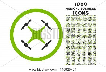 Quadcopter rounded glyph bicolor icon with 1000 medical business icons. Set style is flat pictograms, eco green and gray colors, white background.