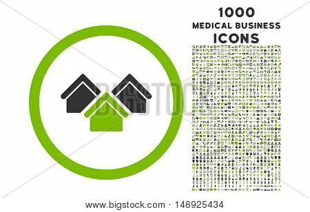 Real Estate rounded glyph bicolor icon with 1000 medical business icons. Set style is flat pictograms, eco green and gray colors, white background.