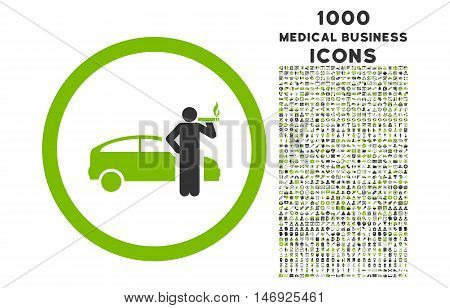 Smoking Taxi Driver rounded glyph bicolor icon with 1000 medical business icons. Set style is flat pictograms, eco green and gray colors, white background.