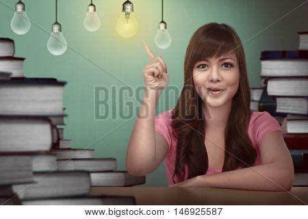 Asian Female Student Having Idea