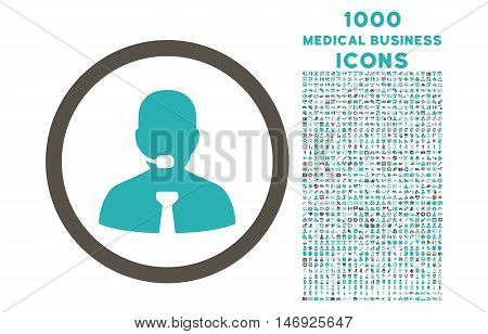 Call Center Operator rounded glyph bicolor icon with 1000 medical business icons. Set style is flat pictograms, grey and cyan colors, white background.
