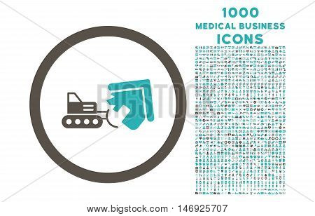Demolition rounded glyph bicolor icon with 1000 medical business icons. Set style is flat pictograms, grey and cyan colors, white background.