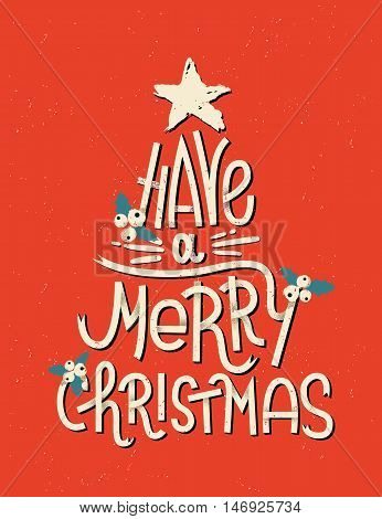 Have A Merry Christmas Lettering In A Shape Of A Christmas Tree. Typographic Greeting Card With Red