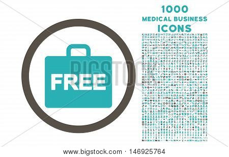 Free Accounting rounded glyph bicolor icon with 1000 medical business icons. Set style is flat pictograms, grey and cyan colors, white background.