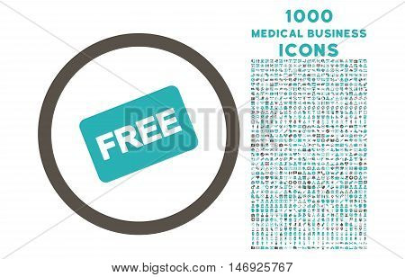 Free Card rounded glyph bicolor icon with 1000 medical business icons. Set style is flat pictograms, grey and cyan colors, white background.