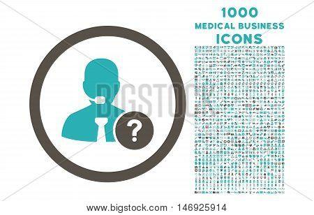Online Support rounded glyph bicolor icon with 1000 medical business icons. Set style is flat pictograms, grey and cyan colors, white background.