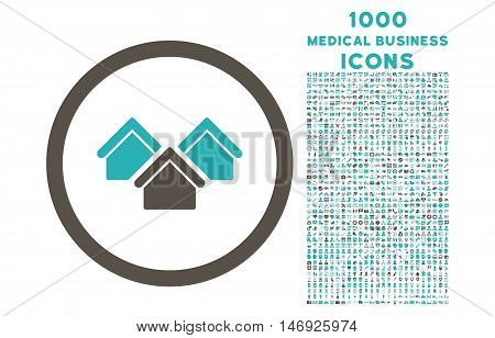 Real Estate rounded glyph bicolor icon with 1000 medical business icons. Set style is flat pictograms, grey and cyan colors, white background.