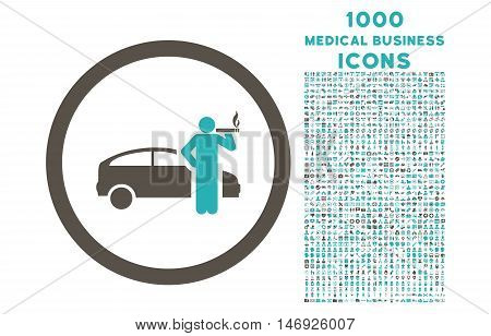 Smoking Taxi Driver rounded glyph bicolor icon with 1000 medical business icons. Set style is flat pictograms, grey and cyan colors, white background.