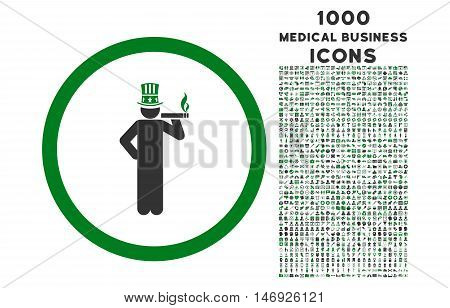 American Capitalist rounded glyph bicolor icon with 1000 medical business icons. Set style is flat pictograms, green and gray colors, white background.
