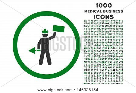 Builder With Shovel rounded glyph bicolor icon with 1000 medical business icons. Set style is flat pictograms, green and gray colors, white background.