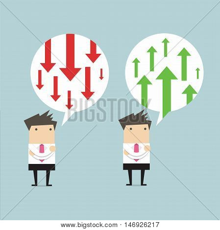 Businessman thinking about business arrow positive and negative
