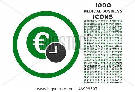 Euro Credit rounded glyph bicolor icon with 1000 medical business icons. Set style is flat pictograms, green and gray colors, white background.