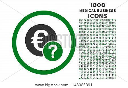 Euro Status rounded glyph bicolor icon with 1000 medical business icons. Set style is flat pictograms, green and gray colors, white background.