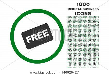 Free Card rounded glyph bicolor icon with 1000 medical business icons. Set style is flat pictograms, green and gray colors, white background.