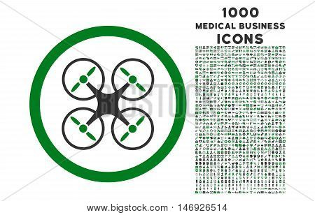 Nanocopter rounded glyph bicolor icon with 1000 medical business icons. Set style is flat pictograms, green and gray colors, white background.