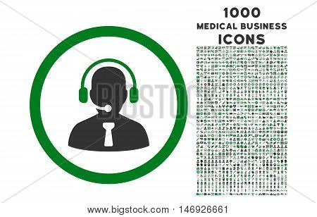 Reception Operator rounded glyph bicolor icon with 1000 medical business icons. Set style is flat pictograms, green and gray colors, white background.