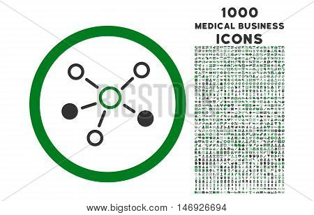Relations rounded glyph bicolor icon with 1000 medical business icons. Set style is flat pictograms, green and gray colors, white background.