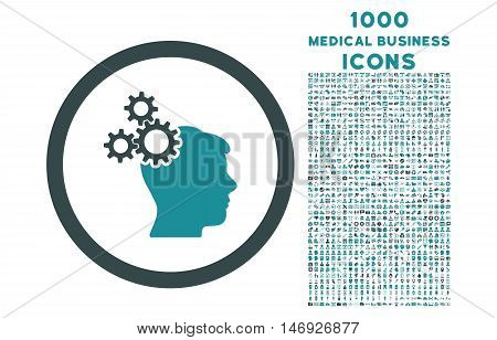 Business Idea rounded glyph bicolor icon with 1000 medical business icons. Set style is flat pictograms, soft blue colors, white background.