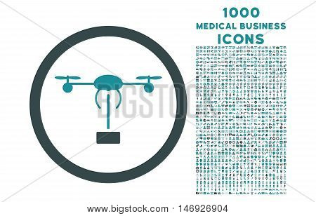 Copter Shipment rounded glyph bicolor icon with 1000 medical business icons. Set style is flat pictograms, soft blue colors, white background.