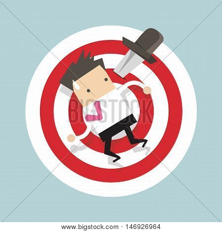 Businessman on target with knife vector illustration