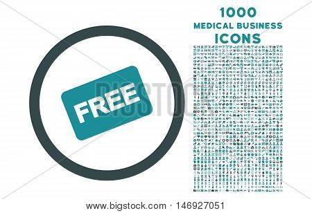 Free Card rounded glyph bicolor icon with 1000 medical business icons. Set style is flat pictograms, soft blue colors, white background.