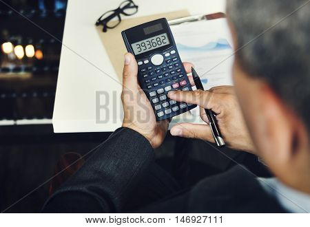 Marketing Financial Business Calculator Analysis Concept