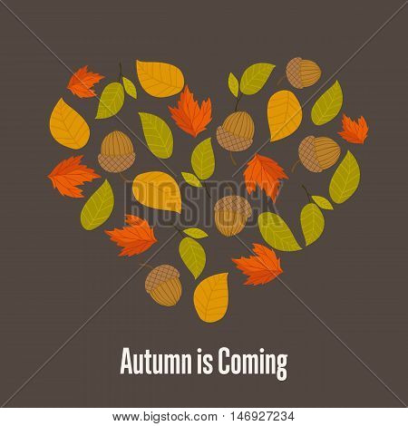 Autumn leaves fall on background vector illustration.
