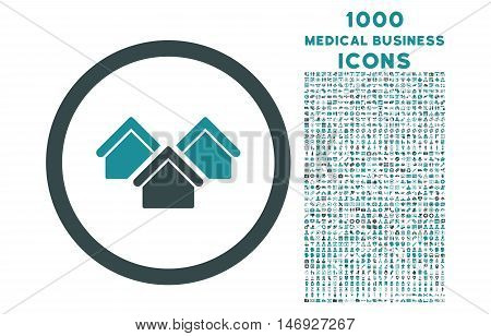 Real Estate rounded glyph bicolor icon with 1000 medical business icons. Set style is flat pictograms, soft blue colors, white background.