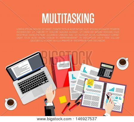 Business multitasking concept. Overhead view of businessman working with financial documents on red background. Busy life of company manager corporate executive. Office workplace banner