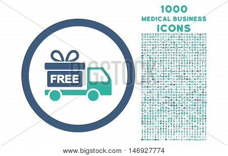 Gift Delivery rounded glyph bicolor icon with 1000 medical business icons. Set style is flat pictograms, cobalt and cyan colors, white background.