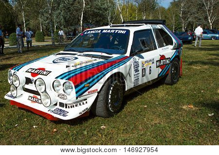 Mogliano VenetoItaly Sept 112016:Photo of a Lancia Rally S4 at meeting Top Selection 2016.The Delta S4 competed in the World Rally Championship in 1985 and 1986 until Group B class was disbanded.
