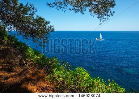 Mediterranean sea and coast near the town of Tossa de Mar, Spain