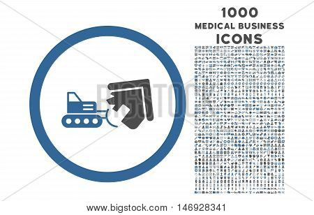Demolition rounded glyph bicolor icon with 1000 medical business icons. Set style is flat pictograms, cobalt and gray colors, white background.