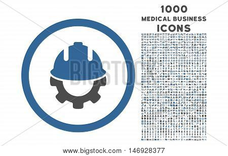 Development rounded glyph bicolor icon with 1000 medical business icons. Set style is flat pictograms, cobalt and gray colors, white background.