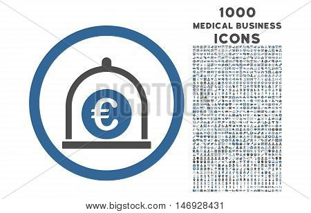 Euro Standard rounded glyph bicolor icon with 1000 medical business icons. Set style is flat pictograms, cobalt and gray colors, white background.