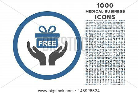Give Present rounded glyph bicolor icon with 1000 medical business icons. Set style is flat pictograms, cobalt and gray colors, white background.