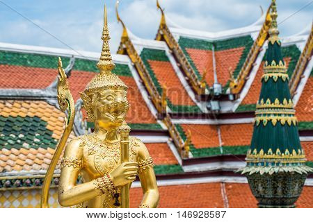 The giant statue guard of royal palace in Bangkok, Thailand.