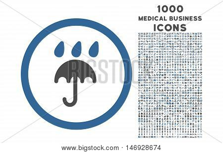 Rain Protection rounded glyph bicolor icon with 1000 medical business icons. Set style is flat pictograms, cobalt and gray colors, white background.