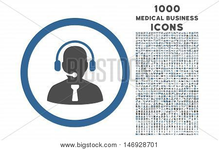 Reception Operator rounded glyph bicolor icon with 1000 medical business icons. Set style is flat pictograms, cobalt and gray colors, white background.