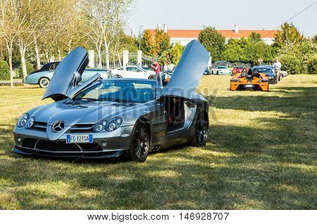 Mogliano VenetoItaly Sept 112016:Photo of a McLaren Mercedes SLR at meeting Top Selection 2016. Mercedes-Benz and McLaren Automotive built in Portsmouth and the McLaren Technology Centre in Woking Surrey England and sold from 2003 to 2010.