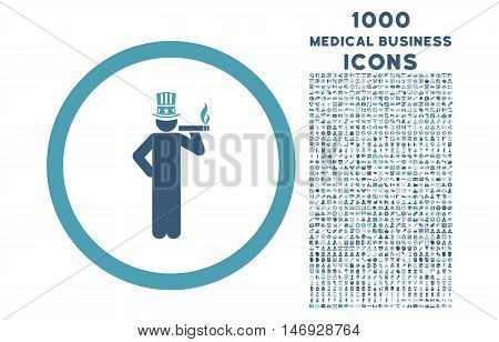 American Capitalist rounded glyph bicolor icon with 1000 medical business icons. Set style is flat pictograms, cyan and blue colors, white background.
