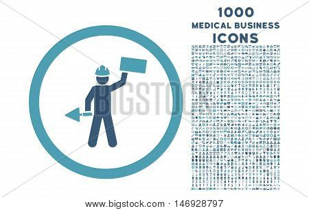 Builder With Shovel rounded glyph bicolor icon with 1000 medical business icons. Set style is flat pictograms, cyan and blue colors, white background.