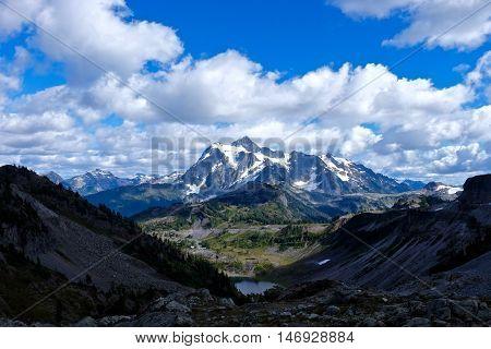 Mountain road to ski area in Cascade Mountains. Mount Baker National Forest. Seattle. Washington. USA.