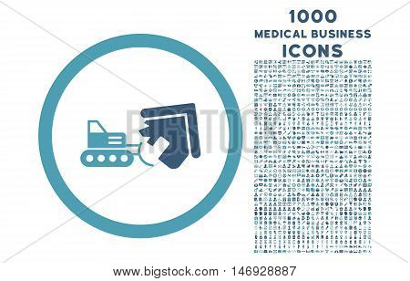 Demolition rounded glyph bicolor icon with 1000 medical business icons. Set style is flat pictograms, cyan and blue colors, white background.