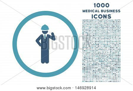 Engineer rounded glyph bicolor icon with 1000 medical business icons. Set style is flat pictograms, cyan and blue colors, white background.