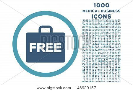 Free Accounting rounded glyph bicolor icon with 1000 medical business icons. Set style is flat pictograms, cyan and blue colors, white background.