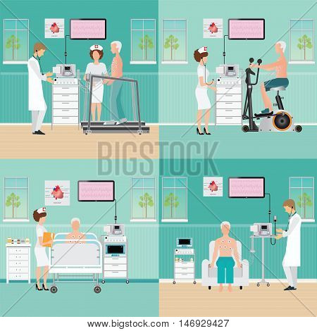 ECG Test or Exercise Stress Test for Heart Disease on treadmill and exercise bike cardiology center room interior with blood pressure monitor healthy and medical flat design vector illustration.