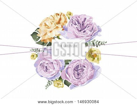 Vintage and luxurious floral vector greeting card with flowers in garden