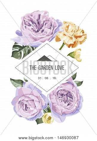 Vintage and luxurious floral vector greeting card with flowers in garden and rectangle label