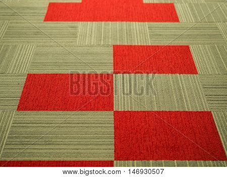red brown tile pattern carpet with vertical and horizontal stripe